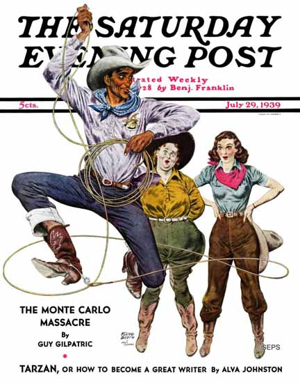 Floyd Davis Saturday Evening Post Lasso Tricks 1939_07_29 | The Saturday Evening Post Graphic Art Covers 1931-1969
