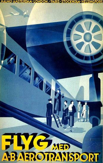 Flyg Med A-B Aerotransport 1932 Milano London | Vintage Travel Posters 1891-1970