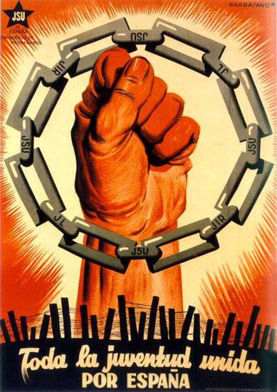 Foda La Juventud Unida Por Espana | Vintage War Propaganda Posters 1891-1970
