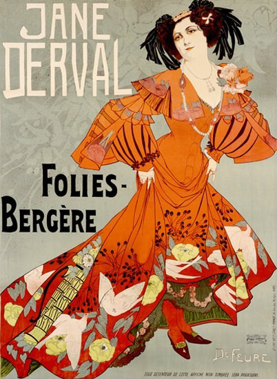 Folies Bergere Jane Derval Georges De Feure | Sex Appeal Vintage Ads and Covers 1891-1970