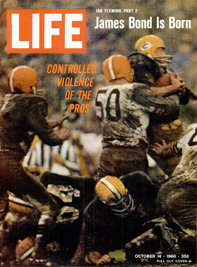 Football Controlled Violence pf Pros 14 Oct 1966 Copyright Life Magazine | Life Magazine Color Photo Covers 1937-1970