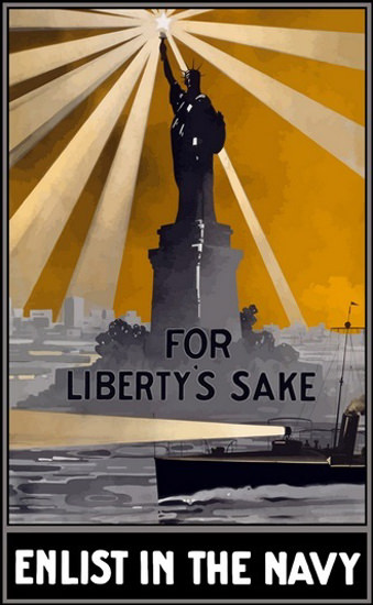 For Libertys Sake Enlist in The Navy Liberty | Vintage War Propaganda Posters 1891-1970