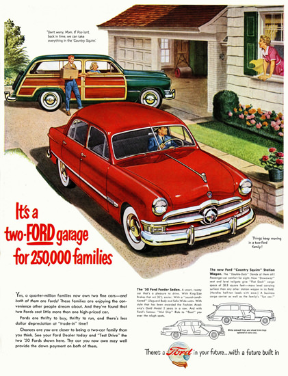Ford 1950 Automobile Two Ford Garage | Vintage Cars 1891-1970