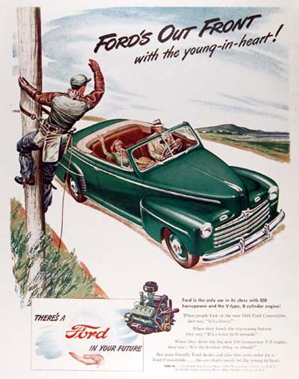 Ford Convertible 1946 Green Young In Heart | Vintage Cars 1891-1970