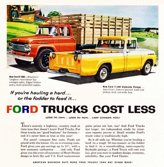 Ford F 600 Stake Truck N F 100 Pickup 1958 | Vintage Cars 1891-1970