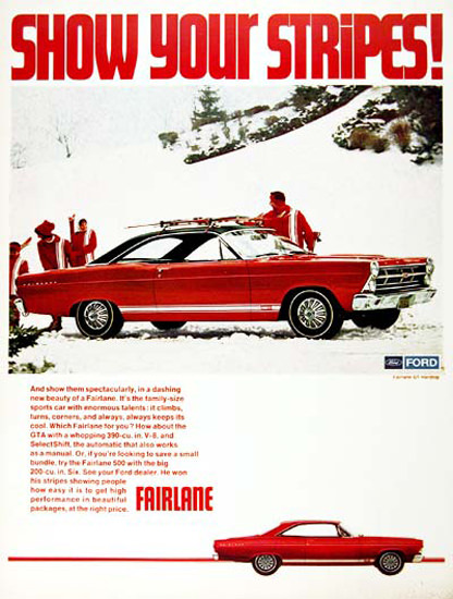 Ford Fairlane GTA 1967 Show You Stripes Red | Vintage Cars 1891-1970