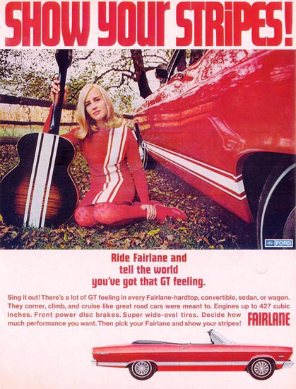 Ford Fairlane Red Guitar Girl 1967 | Sex Appeal Vintage Ads and Covers 1891-1970