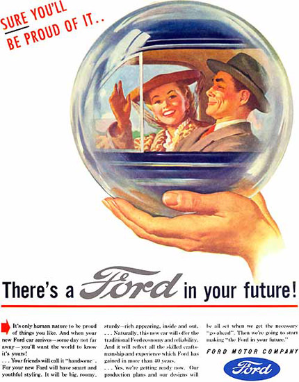 Ford In Your Future Crystal Ball Couple 1945 | Vintage Cars 1891-1970