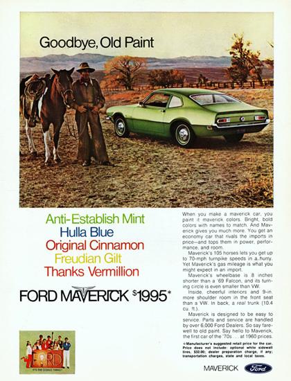 Ford Maverick 1970 Anti Establish Mint Cow Boy | Vintage Cars 1891-1970