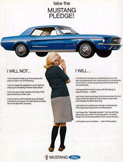 Ford Mustang Girl Blue Take The Mustang Pledge | Sex Appeal Vintage Ads and Covers 1891-1970