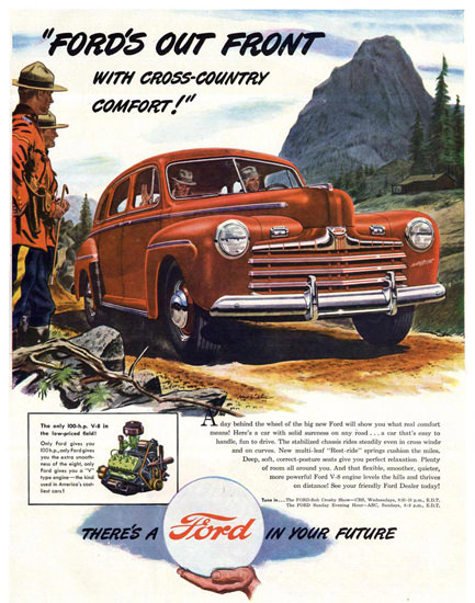 Ford Out Front Mounties 1946 Red | Vintage Cars 1891-1970