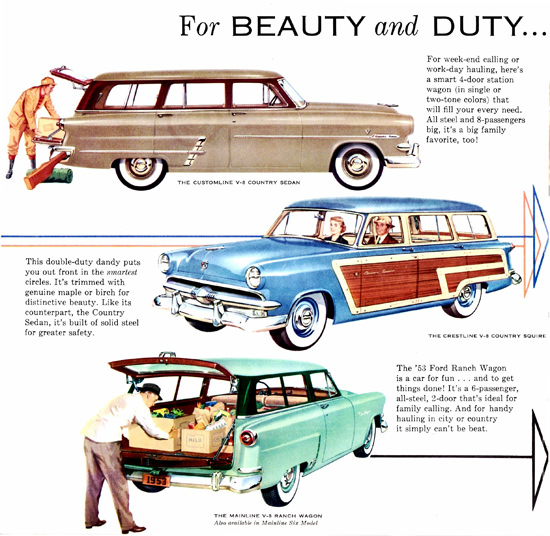 Ford Station Wagon V8 Models 1953 | Vintage Cars 1891-1970