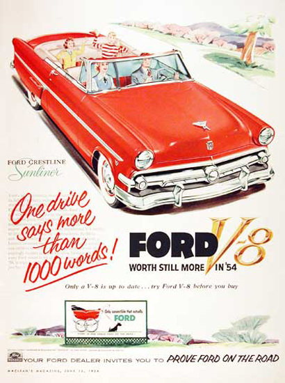 Ford Sunliner V8 More Than 1000 Words 1954 | Vintage Cars 1891-1970
