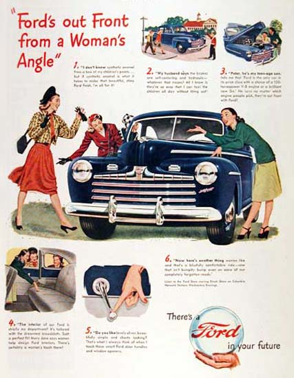 Ford Super Deluxe 1947 Blue A Womans Angle | Vintage Cars 1891-1970