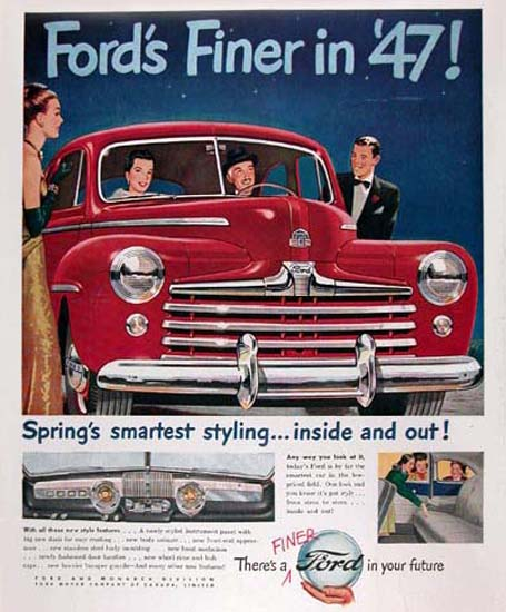 Ford Super Deluxe Red 1947 Smartest Styling | Vintage Cars 1891-1970