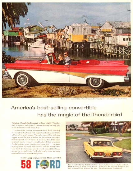 Ford Thunderbird Convertible Harbor 1958 | Vintage Cars 1891-1970