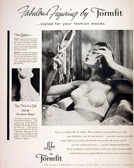 Formfit Brassiere 1956 Fabulous Figuring | Sex Appeal Vintage Ads and Covers 1891-1970