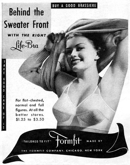 Formfit Brassiere Life-Bra 1943 | Sex Appeal Vintage Ads and Covers 1891-1970