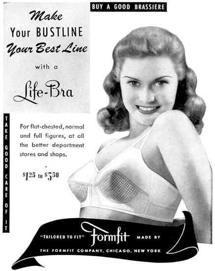 Formfit Life-Bra Brassiere 1943 | Sex Appeal Vintage Ads and Covers 1891-1970