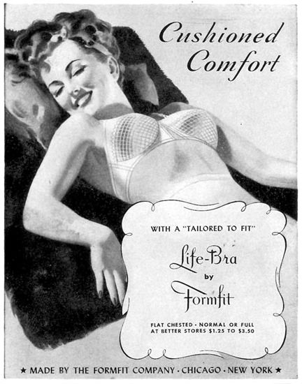 Formfit Life-Bra Cushioned Comfort 1944 | Sex Appeal Vintage Ads and Covers 1891-1970