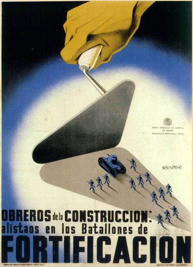 Fortificacion Obreros De La Construccion | Vintage War Propaganda Posters 1891-1970