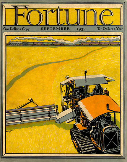 Fortune Magazine Cover Copyright 1930 Harvester Train | Vintage Ad and Cover Art 1891-1970
