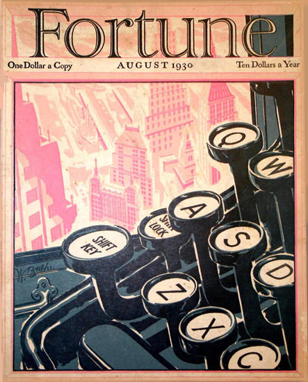 Fortune Magazine Cover Copyright 1930 Typewriter | Vintage Ad and Cover Art 1891-1970