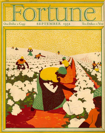 Fortune Magazine Cover Copyright 1931 Cotton Harvesting | Vintage Ad and Cover Art 1891-1970
