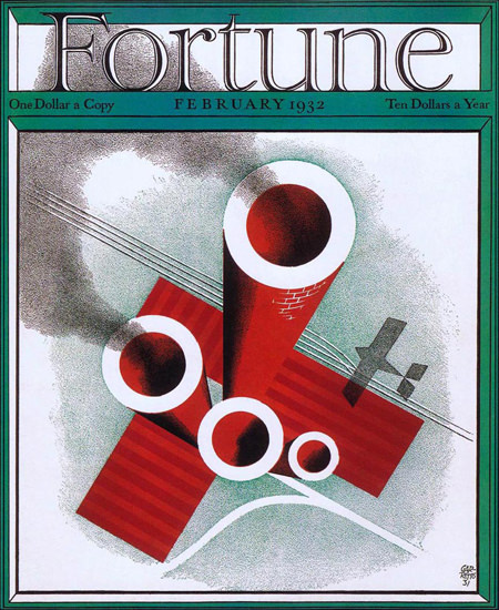 Fortune Magazine Cover Copyright 1932 Factory Airplane | Vintage Ad and Cover Art 1891-1970