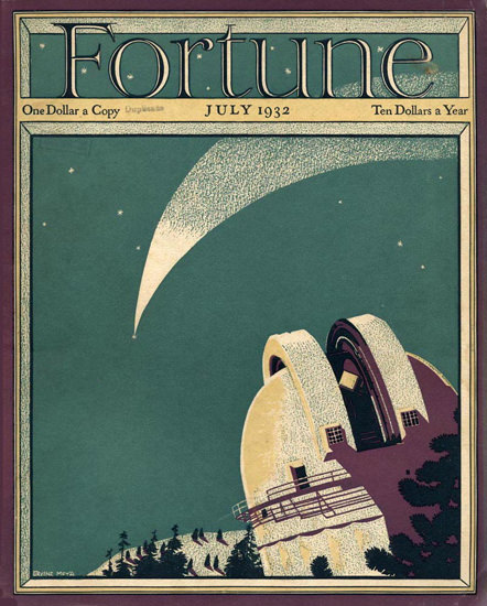 Fortune Magazine Cover Copyright 1932 Observatory | Vintage Ad and Cover Art 1891-1970
