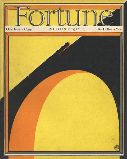 Fortune Magazine Cover Copyright 1932 Train On Bridge | Vintage Ad and Cover Art 1891-1970