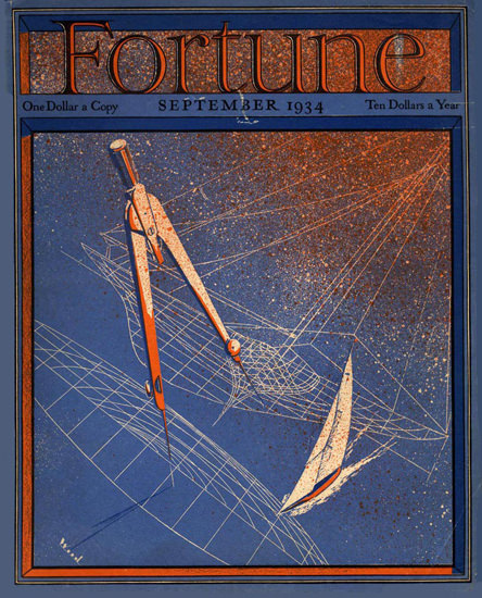 Fortune Magazine Cover Copyright 1934 Yacht Design | Vintage Ad and Cover Art 1891-1970