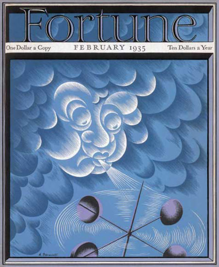 Fortune Magazine Cover Copyright 1935 Weather Storm | Vintage Ad and Cover Art 1891-1970