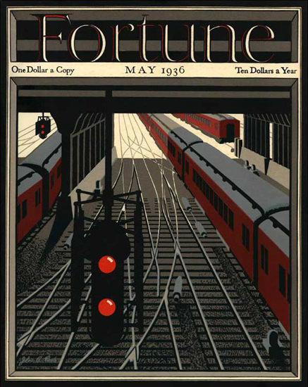 Fortune Magazine Cover Copyright 1936 Train Main Station | Vintage Ad and Cover Art 1891-1970