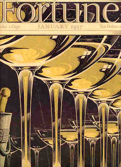 Fortune Magazine Cover Copyright 1937 Champagne Cups | Vintage Ad and Cover Art 1891-1970