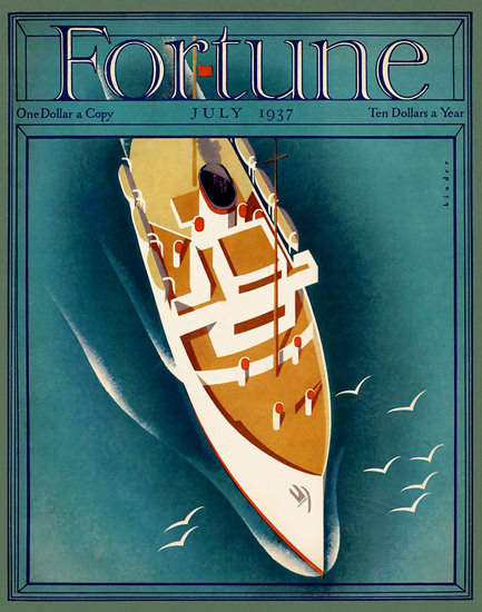 Fortune Magazine Cover Copyright 1937 Passenger Liner | Vintage Ad and Cover Art 1891-1970
