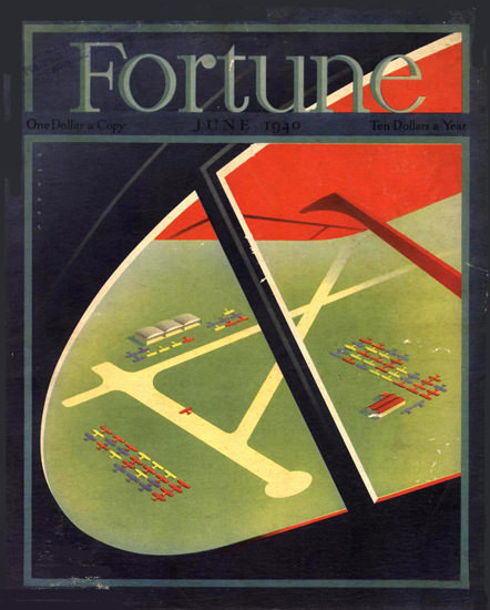 Fortune Magazine Cover Copyright 1940 Birds Eye View | Vintage Ad and Cover Art 1891-1970