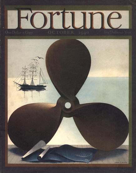 Fortune Magazine Cover Copyright 1940 Marine Propeller | Vintage Ad and Cover Art 1891-1970