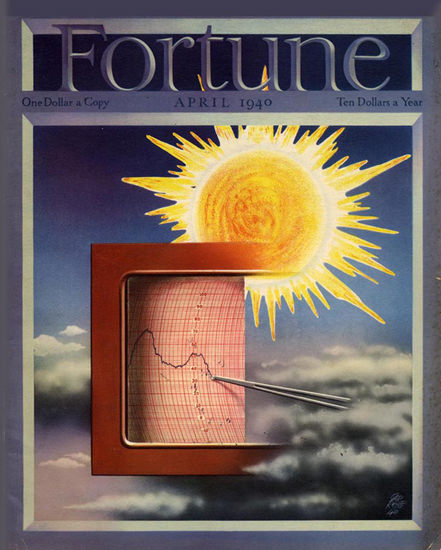 Fortune Magazine Cover Copyright 1940 Weather Forecast | Vintage Ad and Cover Art 1891-1970