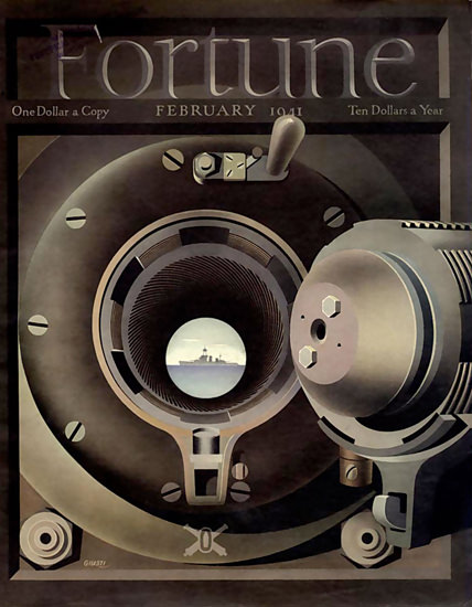 Fortune Magazine Cover Copyright 1941 Naval Battle | Vintage Ad and Cover Art 1891-1970