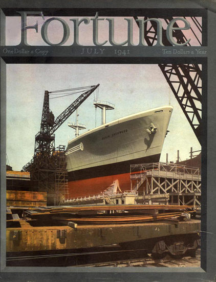 Fortune Magazine Cover Copyright 1941 Shipyard | Vintage Ad and Cover Art 1891-1970