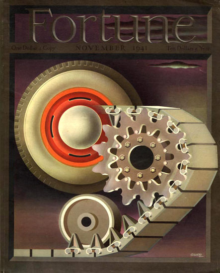 Fortune Magazine Cover Copyright 1941 Tank and Wheel | Vintage Ad and Cover Art 1891-1970