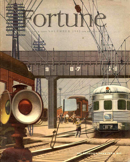 Fortune Magazine Cover Copyright 1942 Railroad From War | Vintage Ad and Cover Art 1891-1970