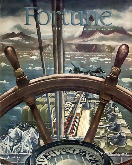 Fortune Magazine Cover Copyright 1942 Services Of Supply | Vintage Ad and Cover Art 1891-1970