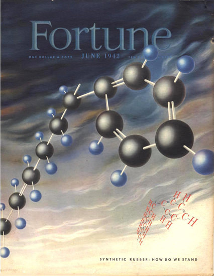 Fortune Magazine Cover Copyright 1942 Synthetic Rubber | Vintage Ad and Cover Art 1891-1970