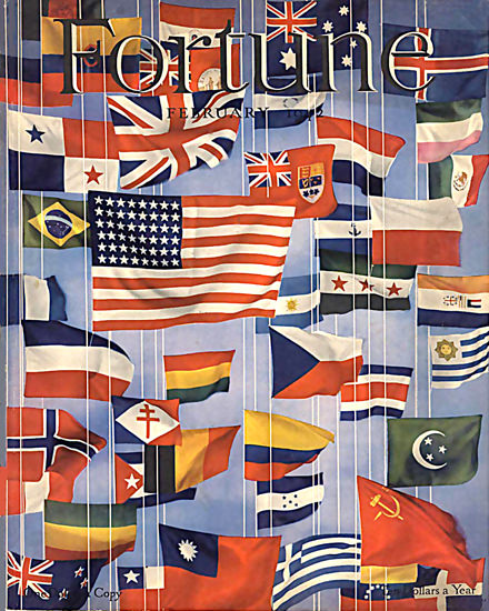 Fortune Magazine Cover Copyright 1942 United Nations | Vintage Ad and Cover Art 1891-1970
