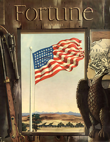 Fortune Magazine Cover Copyright 1942 War Flag | Vintage Ad and Cover Art 1891-1970