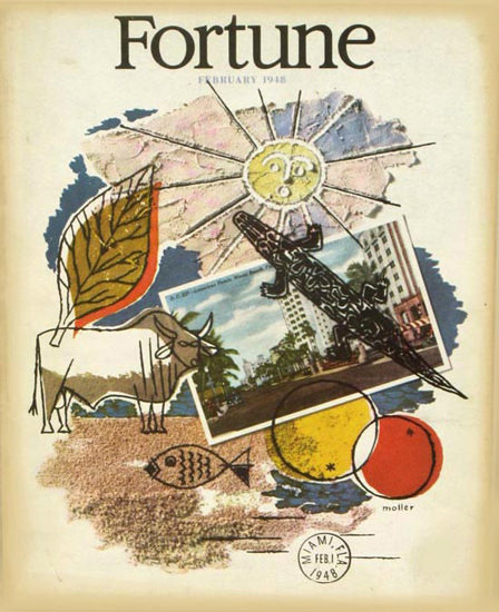Fortune Magazine Cover Copyright 1948 Miami Florida | Vintage Ad and Cover Art 1891-1970