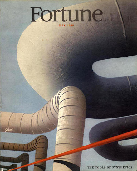 Fortune Magazine Cover Copyright 1948 Tools Synthetics | Vintage Ad and Cover Art 1891-1970