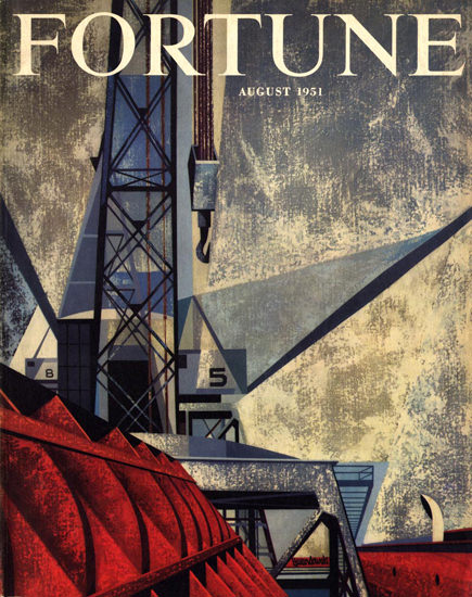 Fortune Magazine Cover Copyright 1951 Harbor | Vintage Ad and Cover Art 1891-1970